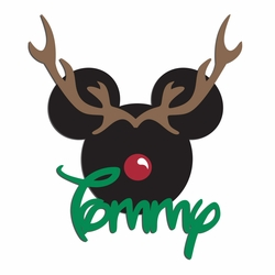1SYT Very Merry:  Custom Reindeer Mouse Laser Die Cut