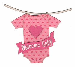Welcome Baby Clothesline Pink Patterned Laser Die Cut
