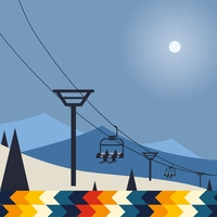 Winter Sports: Riding The Ski Lift 12 x 12 Paper