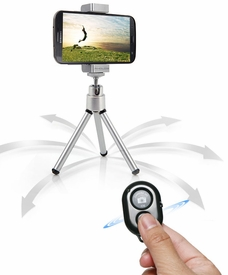 AT-TRH: Bluetooth Camera Shutter Remote, Tripod and Holder Bundle for iPhone 4/5, Samsung Galaxy S2/3/4, Note 1/2/3, Android Phone Tablet