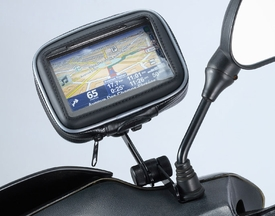 """ME-MM+WPCS-5D: Universal Motorcycle Mirror Mount with Case for 5"""" Screen GPS Devices"""