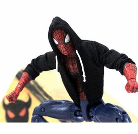 "NOX-ST: FIGLot 1/12 black fabric hoodie for 6"" Marvel Spiderman Action figures (Sold Out)"