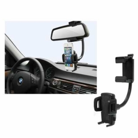 """SP-M001: Universal Rearview Mirror Mount & Holder for SmartPhone and GPS (min 1.4"""" ~ max 3.25"""")"""