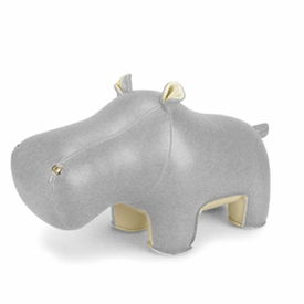 Zuny  Hippo (Budy)  Animal Bookend - Gray