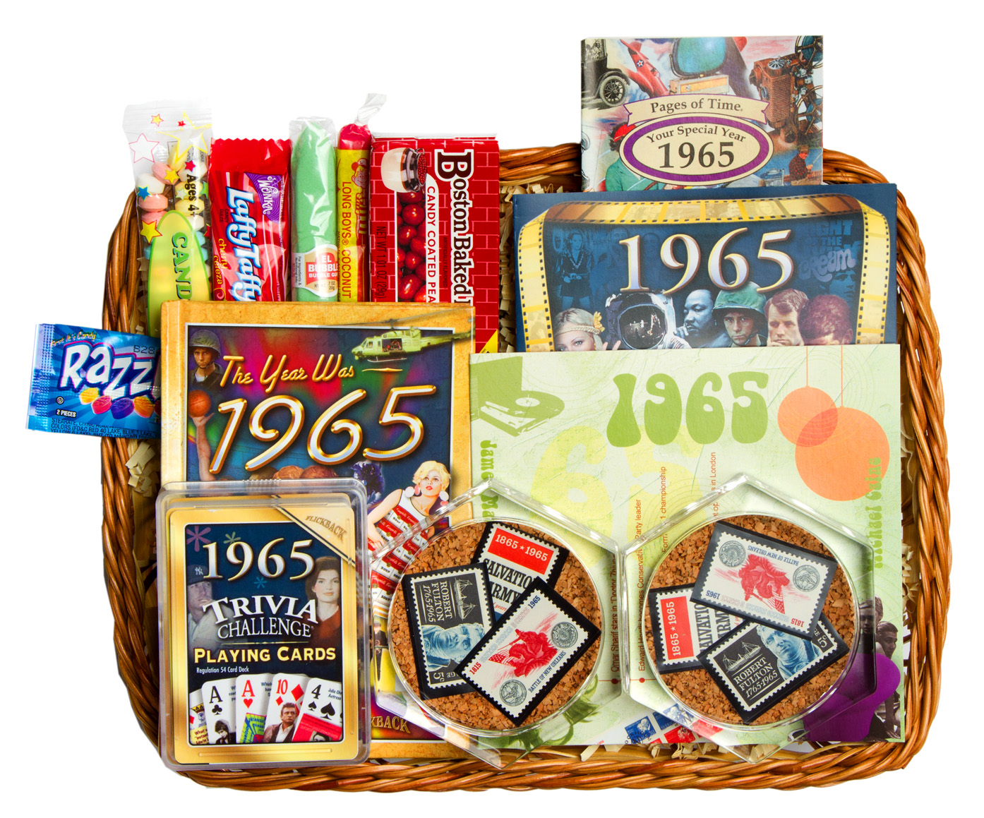50th wedding anniversary gift basket with 1965 or 1966 stamps for Best gifts for 50th wedding anniversary