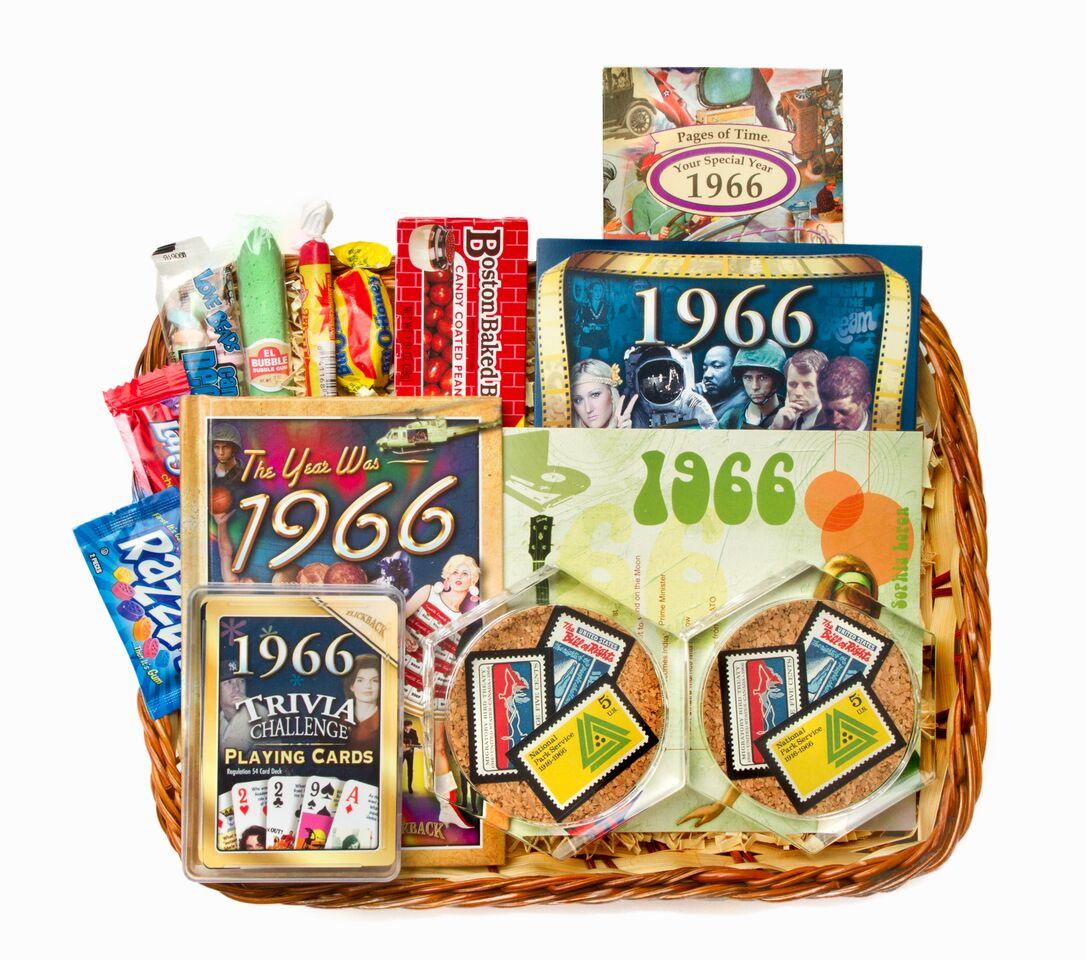 50th wedding anniversary gift basket with 1966 stamps for Best gifts for 50th wedding anniversary