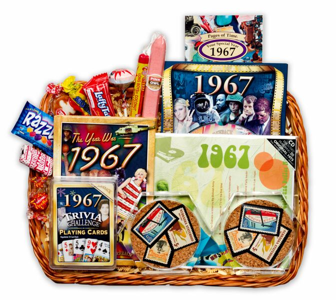50th wedding anniversary gift basket with 1967 stamps for Gifts for 50 year wedding anniversary