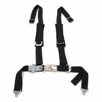 "Tiger 4 Pt ""H"" Harness Seat Belts Sewn In 2x2 w/ Pads Black"
