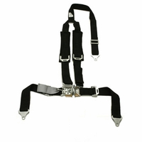 "Tiger 4 Pt ""Y"" Harness Seat Belts Latch & Link 2x2 w Pads Blk"