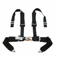 "Tiger 4 Pt ""H"" Harness Seat Belts Sewn In 2x3 w/ Pads Black"
