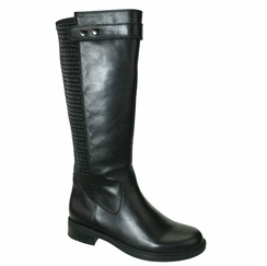 David Tate Women's Dori Extra/Super Women's Wide Calf� Leather Boot (Black)  - FINAL SALE