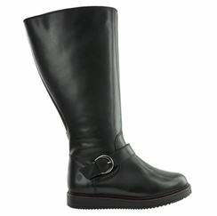 Judy Women's Super Wide Calf� Leather Knee High Wedge Boot (Black) - Final Sale