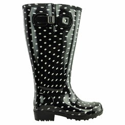 Lily Women's Extra Wide Calf Rain Boot (Black Polka Dot) - Final Sale
