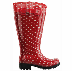 Lily Women's Extra Wide Calf Rain Boot (Red Polka Dot) - Final Sale