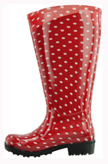 Lily Women's Extra Wide Calf Rain Boot (Red Polka Dot) - Extra ...