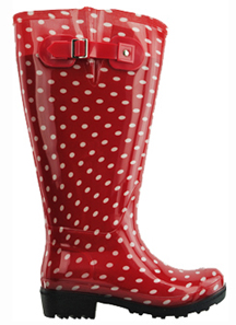 Lily Women S Extra Wide Calf Rain Boot Red Polka Dot