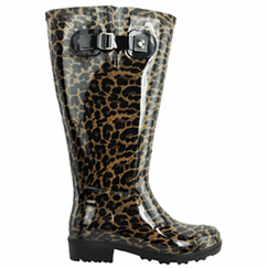 Lily Women's Super Wide Calf� Rain Boot (Leopard) - Final Sale