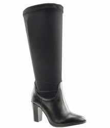 Lola Women's Extra Wide to Super Plus� Wide Calf Stretch High Heel Boot (Black)
