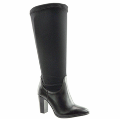 Lola Women's Extra Wide to Super Plus� Wide Calf Stretch High Heel Boot (Black) - FINAL SALE