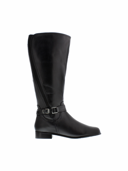 Rose Petals Kylie Women's Extra Wide Calf Leather Riding Boot (Black) - FINAL SALE