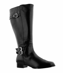 Rose Petals Women's Addison Extra Wide Calf Leather Riding Boot (Black) - FINAL SALE