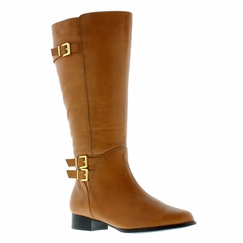 Rose Petals Women's Addison Extra Wide Calf Leather Riding Boot  (Cognac) - FINAL SALE