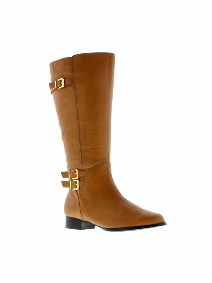 Rose Petals Women's Addison Super Plus Wide Calf® Leather Riding Boot (Cognac)