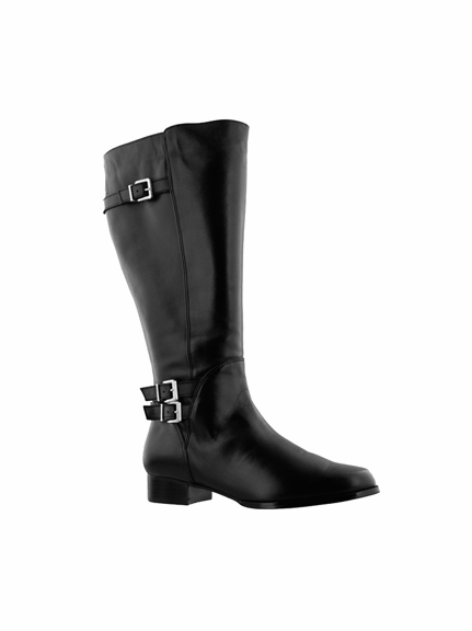 Rose Petals Women's Addison Super Wide Calf™ Leather Riding Boot (Black)