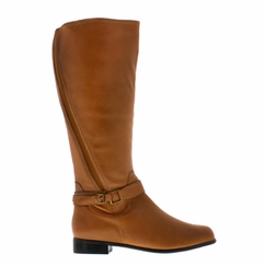 Rose Petals Women's Kylie Extra Wide Calf Leather Boot (Cognac) - FINAL SALE