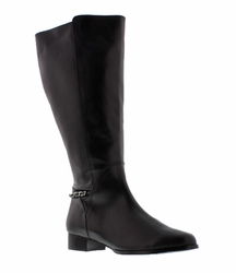 Rose Petals Women's Piper Extra Wide Calf Leather Dress Boot (Black) - FINAL SALE