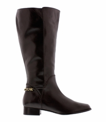 Rose Petals Women's Piper Extra Wide Calf Leather Dress Boot (Brown)  - FINAL SALE