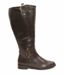 Rose Petals Women's Skye Super Plus Wide Calf� Leather Riding Boot (Brown) - FINAL SALE