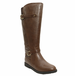 Women's Cassie Extra Wide Calf Vegan Boot (for larger ankles! - Brown) - FINAL SALE