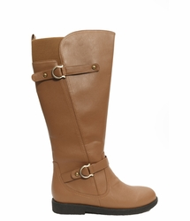 Women's Cassie Extra Wide Calf Vegan Boot (for larger ankles! Tan - FINAL SALE)