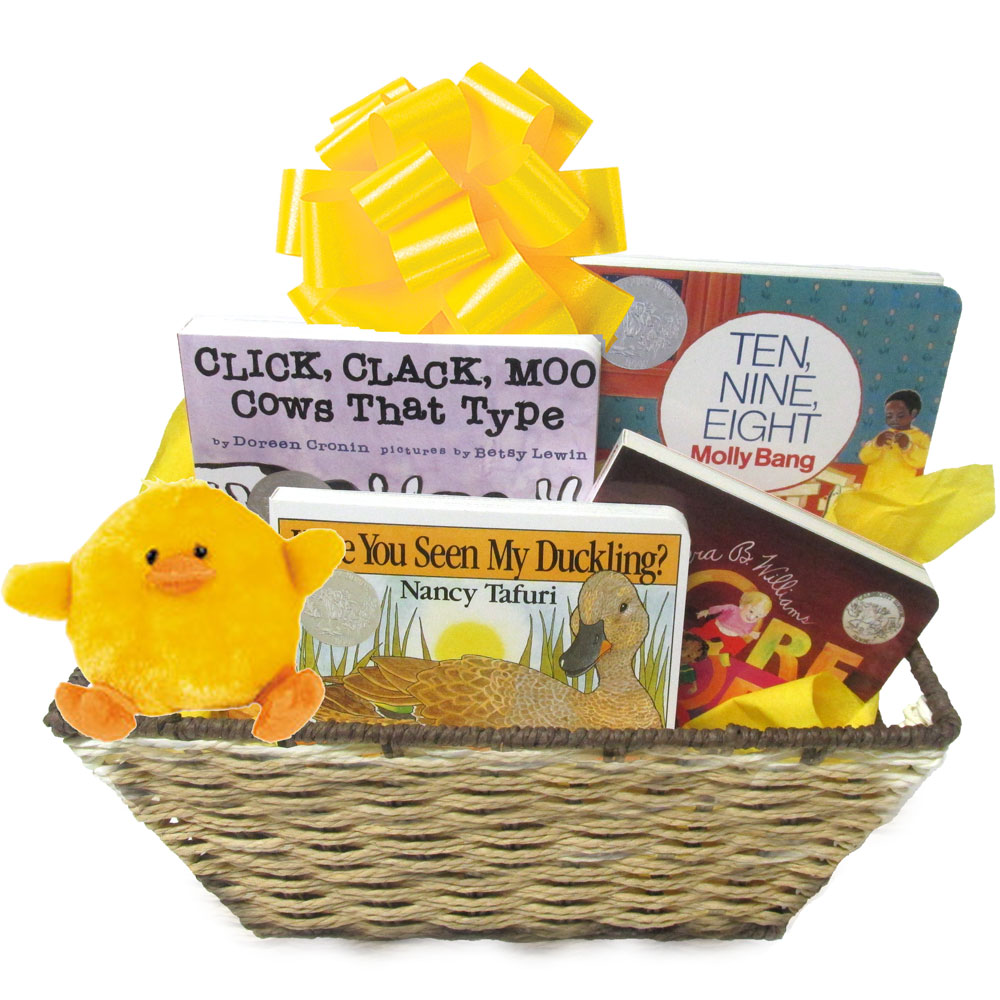 Creative baby gift baskets with board books in many different baby gift basket with brilliant award winning caldecott books negle Images