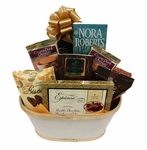 Festive Gift Basket with Book, Chocolate Cookies and Cake