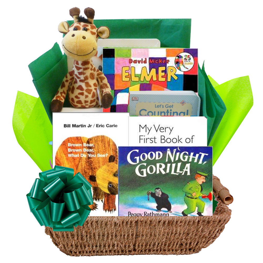 Baby gift basket with books : Wild for baby books gift basket with animal themed board