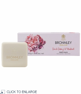 Bronnley Pink Peony &  Rhubarb Luxury Soap Set/3 Bars - limited supply - 20% Off
