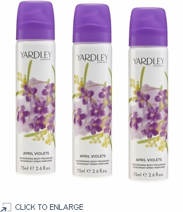 Yardley London April Violets Body Spray, 3 PAK - ONLY 1 Set/3 Remains