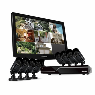 """Defender Sentinel 8CH H.264 500GB Smart Security DVR with 8 Hi-res Outdoor Surveillance Cameras, Smart Phone Compatibility and 19"""" LED Monitor -21053<!--21053-->"""