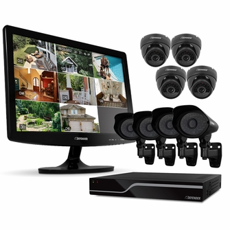 """Defender PRO Sentinel 8CH H.264 1 TB Smart Security DVR with 8 Ultra Hi-res Indoor/Outdoor Surveillance Cameras, Smart Phone Compatibility and 19"""" LED Monitor (21139)<!--21139-->"""