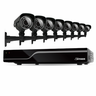 Defender Sentinel 16CH H.264 500GB Smart Security DVR with 8 Ultra Hi-res Outdoor Surveillance Cameras and Smart Phone Compatibility (21050)<!--21050-->