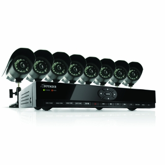 Defender SN301-8CH-008 8 Channel H.264 Smart DVR Security System with Coaching iMenu and 8 Hi-Res CCD Night Vision Surveillance Cameras (Black)<!SKU--><!--SN301-8CH-008-->