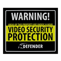 Defender SP102-SGN Indoor Video Security Surveillance System Deterrent Warning Sign with 4 Window Warning Stickers<!--SP102-SGN-->