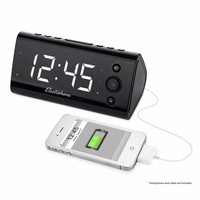 """Electrohome Alarm Clock Radio with USB Charging for Smartphones & Tablets includes Dual Alarm, Battery Backup, Auto Time Set & 1.2"""" White LED Display with 4 Dimming Options (EAAC470W)<!--EAAC470W-->"""