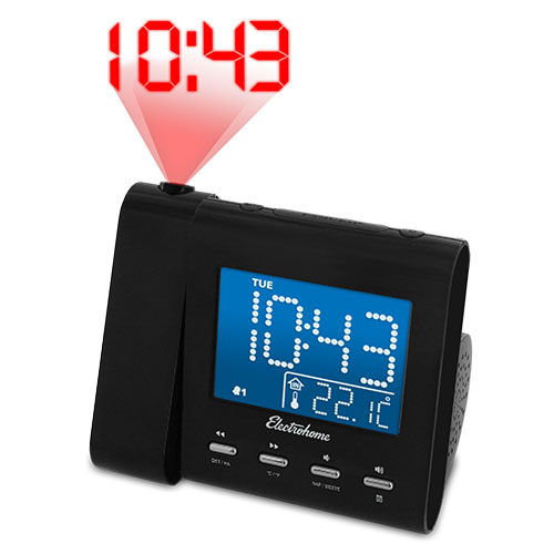 electrohome projection alarm clock with am fm radio battery backup auto tim. Black Bedroom Furniture Sets. Home Design Ideas