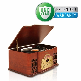 Electrohome EANOS501 3-in-1 Vintage Classic Turntable Real Wood Stereo System with AM/FM Radio, CD & Full Size Record Player & Bonus 1 Year Extended Warranty