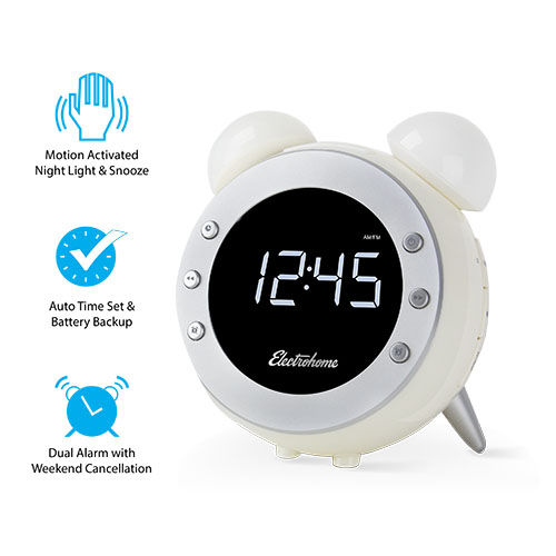 electrohome retro alarm clock radio with motion activated night light and snooze digital am fm. Black Bedroom Furniture Sets. Home Design Ideas