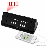 """Electrohome USB Charging Alarm Clock Radio for Smartphones and Tablets with Time Projection, Battery Backup, Auto Time Set, Dual Alarm, 1.2"""" White LED Display (EAAC475W)<!--EAAC475W-->"""