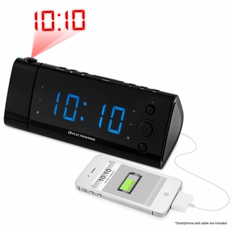 """Electrohome USB Charging Alarm Clock Radio with Time Projection, Battery Backup, Auto Time Set, Dual Alarm, 1.2"""" Blue LED Display for Smartphones & Tablets (EAAC475) <!--EAAC475-->"""